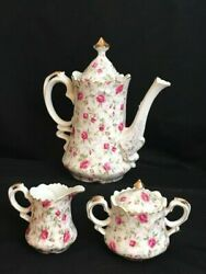 Lefton Rose Chintz China Coffee Pot W/creamer And Covered Sugar Bowl, Excellent
