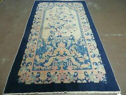4and039x7and039 Antique Hand Made Chinese Fette Peking Art Deco Wool Rug Butterfly Dragon
