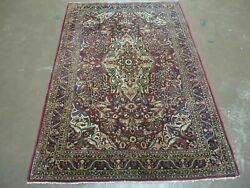 3and039 5 X 5and039 Antique Hand Made Indian Agra Fine Weave Wool Rug Organic Dye Nice