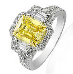 Vintage Split Shank Three Stone Diamond Engagement Ring 7.88 ct Emerald Cut P...