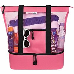 Mesh Beach Tote Bag for Women w Insulated Picnic Cooler and Zipper (Rose Pink)