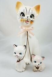 Vintage 3 Piece Ceramic Mother Cat Chained Kittens Figurine Japan