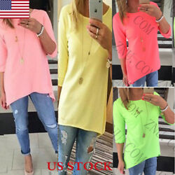 Womens Loose Causal Tunic Long Tops Blouses T-Shirt Plus Size 34 Sleeve Tee US