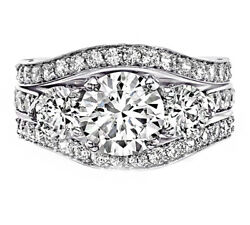 3-Row Band Style 6.75 carat Round Cut Bridal Set Diamonds GIA Certified 18K W...