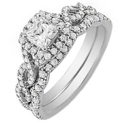 18K White Gold GIA Certified Diamond Halo Style Bridal Set 2.25 Ct Princess w...