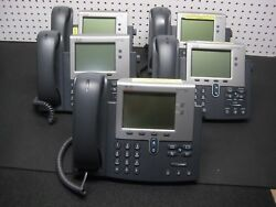 Lot Of 5 Cisco Cp-7942g 7942 Ip Voip Office Phone W/ Handset Working And Tested