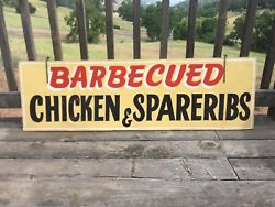 Authentic Vintage BARBECUED CHICKEN & SPARERIBS Double Sided Sign 48