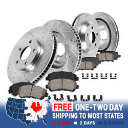 Front And Rear Drill Slot Brake Rotors And Ceramic Pads For 2001-2005 Bmw 325xi E46