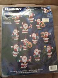 1997 Bucilla Felt Applique Kit #83667 LITTLE SANTAS Set of 12 Ornaments 4