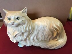 VINTAGE LARGE CERAMIC WHITE PERSIAN CAT KITTY FIGURINE 17