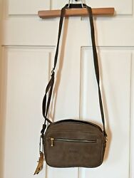 BRAND NEW! ROOTS CANADA Crossbody Bag  Purse Genuine Suede Leather Sage Green