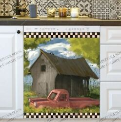 Kitchen Dishwasher Magnet - Old Farmhouse And A Red Truck