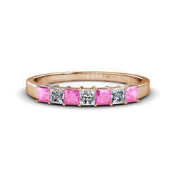Pink Sapphire And Diamond 7 Stone Wedding Band 1.08 Ct Tw In 14k Red Gold Jp35409