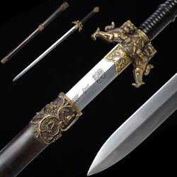 Hand Forged High Quality pattern steel ShuangShi Sword Pure copper Fittings#5034