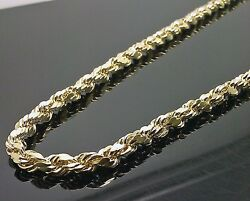 Real 10k Yellow Gold Menand039s Rope Chain Necklace 21 Inches 5mm Rope N