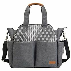 Large Diaper Bags Tote Satchel Messenger For Mom And Girls In Grey Arrow Print