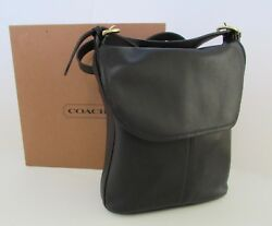Rare COACH WHITNEY Black Leather Flap BucketHobo Bag United States NIB