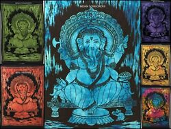 Indian Ganesha Lord Small Poster Tapestry Wall Hanging Throw Cotton Art Textile