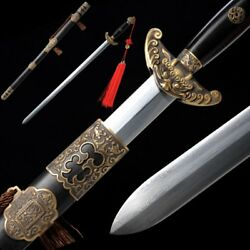 Hand Forged High Quality pattern steel Qian long pei Sword copper Fittings #5051