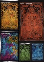 Indian Ganesha  Lord Tapestry Poster Small Wall Hanging Textile Table Cloth Art