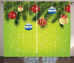 Christmas Curtains 2 Panel Set For Home Decor 5 Sizes Available Window Drapes