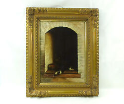 Large Oil Painting Picture Xix Jh Signed L.manouriez Dog Nk-2252