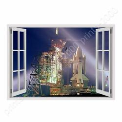 Cape Canaverals Rocket By Fake 3d Window | Ready To Hang Canvas | Wall Art