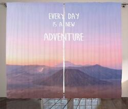 Adventure Quote Curtains 2 Panel Set For Decor 5 Sizes Available Window Drapes