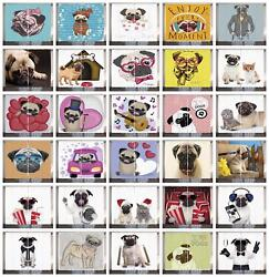 Pug Puppy Curtains 2 Panel Set For Decor 5 Sizes Available Window Drapes