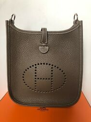 NEW AUTHENTIC HERMES EVELYNE MINI  NAVY BLUE BAG WITH CROSS BODY STRAP