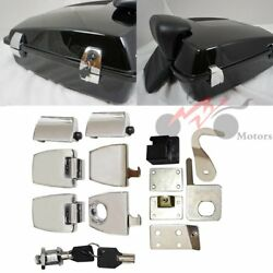 Chrome Tour Pak Premium Latches Hardware Lock & Key Kit For Harley 2006-2013