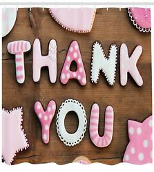 Thank You Pattern Shower Curtain Fabric Decor Set With Hooks 4 Sizes