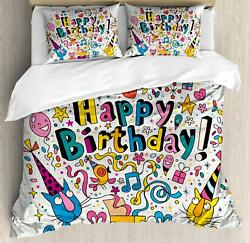 Nursery Birthday Duvet Cover Set Twin Queen King Sizes with Pillow Shams