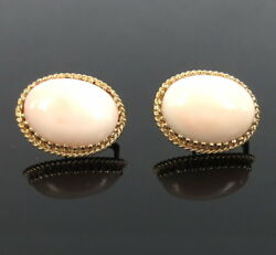 Estate Natural Angel Skin Coral And 14k Yellow Gold Oval Shape Earrings