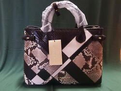 Burberry Banner Medium Patchwork Python Tote Bag. BlackWhite