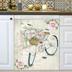 Kitchen Dishwasher Magnet - Vintage Bicycle With Flowers
