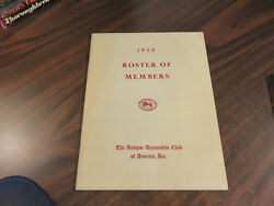 The Antique Automobile Club Of America 1958 Roster Of Members Ppb Free Ship