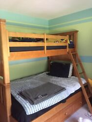 Brown Wooden Bunk Bed Twin Over Full With Under Bed Storage