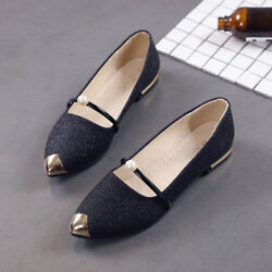 Womenand039s Casual Spring Pointed Toe Square Heel Shoes Low Heel Flat Shoes Fashion