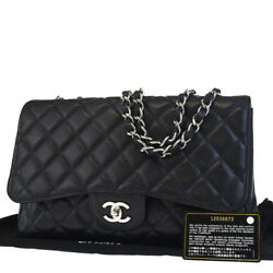 Auth CHANEL CC Matelasse Quilted Chain Shoulder Bag Caviar Skin Leather 888L368