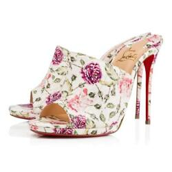 Christian Louboutin Pigamule 120 Floral Watersnake Heel Mule Sandals Shoes 1195