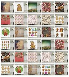 Gingerbread Man Pattern Shower Curtain Fabric Decor Set With Hooks 4 Sizes