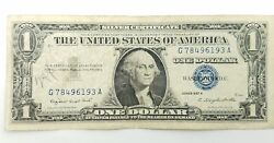 1957 A Blue Seal 1 One Dollar Silver Certificate Bill - Old Paper Money