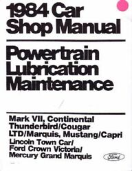 Oem Repair Shop Manual Loose Leaf For Lincoln Continental, Mark VII 1984