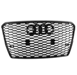 Front Rs7 Style Mesh Bumper Hood Hex Grille Black For 2012-2015 Audi A7/s7 C7