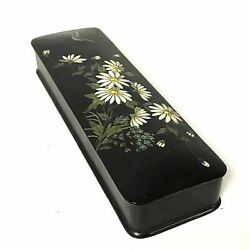 Antique Russian Lacquer Writing / Glove Box W/ Flower Bird Decoration