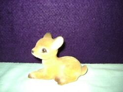 Flocked Baby Deer Fawn Not Plastic Classic Vintage