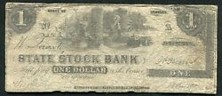 1853 1 One Dollar State Stock Bank Jamestown In Obsolete Currency Note