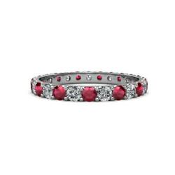 Ruby And Diamond Eternity Band 1.95 Carat Tw-2.24 Carat Tw In 14k Gold Jp12521