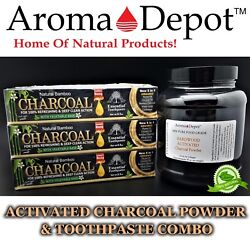 Activated Hardwood Charcoal Powder And 6 Pack Black Toothpaste Remove Stains 1 Lb